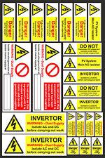 23 etiquetas de advertencia de seguridad PV solar eléctrico AC/DC Peligro Pegatinas de alto voltaje