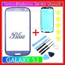 Vetro Glass BLU BLUE +BIADESIVO 3M + Utensili SAMSUNG GALAXY S3 I9300 I9301I Neo