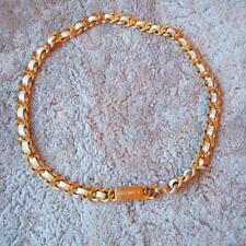 Original Chanel Paris Ceinture Belt Collier chaîne necklace gold + en Cuir Blanc