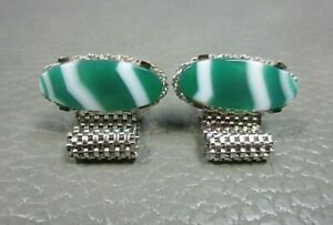 Vintage Green and White Agate White Gold Plated Wrap Around Cuff Links
