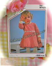 Vintage Knitting Pattern Instructions For Girls Pleated Dress, 4 Sizes FREE P&P
