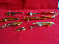 COLLECTION OF VINTAGE NATURAL NEVISION TYPE PETRIFIED FISH AND PRAWN LURES