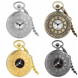 Steampunk Quartz Pocket Watches Necklace Chain Analog for Men Women Half Hunter