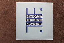"""New Order  LP  """"Movement""""  UK Original  FACT. 50 1981 EX+ A2 B2"""