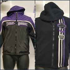 Harley Davidson Hooded Jacket Embroidered REVERSIBLE Black/Purple Nylon~Fleece