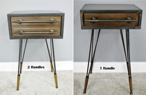 Bedside Table Side End Lamp Cabinet Metal Retro 1 Drawer Storage Hairpin Legs
