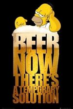 THE SIMPSONS ~ HOMER BEER TEMPORARY SOULTION 24x36 CARTOON POSTER NEW/ROLLED!