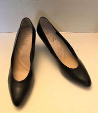PAALOS Black women Heels Slip-on Shoes Leather Size 9m