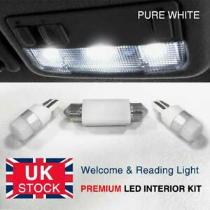 Xenon White Interior LED Welcome & Reading Lights Upgrade For Vauxhall Corsa D