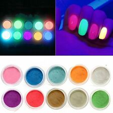 10Pcs/Set  Acrylic DIY Glow In Dark Fluorescent Nail Powder Dust Neon Color