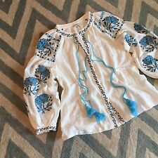 L New ANTHROPOLOGIE Embroidered Women's Blue Floral Peasant Blouse Top - LARGE