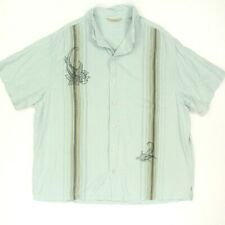 Paradise Collection Shirt Men 2XL Green 100% Silk Button-up S/S Hawaiian Bowling