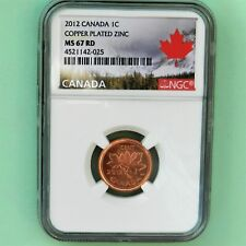 2012 Canada 1C NGC MS 67 RD Copper Plated Zinc, Landscape Label