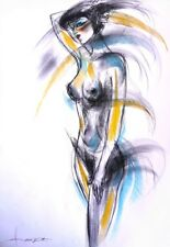 Original Art Female Nude Charcoal/Soft Pastel signed by Artist Hamza Arcan V&A