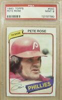 1980 TOPPS BASEBALL #540 PETE ROSE ' hit king ' reds phillies expos mint PSA 9