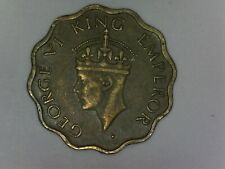 1944 George VI King Emperor 1 ANNA Nickel Brass coin India 18-418