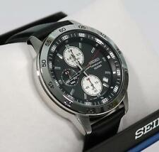 Seiko Chronograph Black Dial Stainless Steel Leather Strap Men's Watch SKS649P1