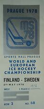 TICKET Eishockey WM 2.5.1978 Finnland - Schweden in Prag