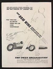 Vintage 1962 anuncio de revista deporte del motor-BRM, Gran Premio Alemán, Graham Hill