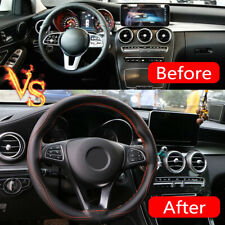 Universal DIY Car Black Steering Wheel Cover Protection Needle Real Leather 38cm