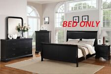 Smooth Surface Curved Panels Black 1Pc Queen Bed Bedroom Furniture