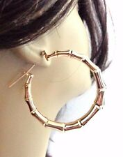GOLD BRASS PLATED BAMBOO HOOP EARRINGS FULL HOOPS 2 INCH GOLD TONE
