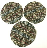Lot of 3 Circular Place Mat Doilies Floral Woven Stitch Reversible Linen Textile