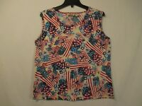COLLECTIONS ETC. Red White & Blue Sleeveless Top w/ Sequins - Size M - NWOT
