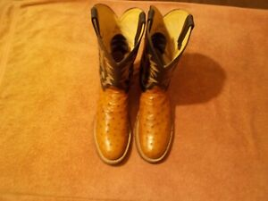 JUSTIN BOOTS TEKNO CREPE FULL QUILL OSTRICH WESTERN BOOTS SIZE 12D