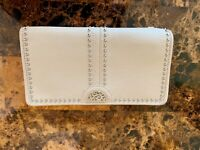 Brighton Leather Pretty Tough Jo Large  Wallet in Ivory Silver Studded Beads