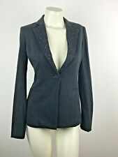 LIU-JO JEANS Black Beaded Notched Lapel Collar Blazer Jacket Size 42-Medium