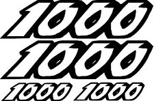 4 STICKER AUTOCOLLANT 1000 RESERVOIR POLY casque MOTO NUMERO CHIFFRE