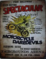 """Evil Knievel-Motorcycle Daredevils Metal Sign ( 15"""" by 12"""")"""