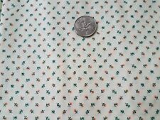 COTTON FABRIC - TINY BLUE & ORANGE FLORALS ON OFF WHITE   1YD