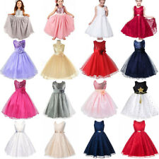 Kid Baby Girl Party Sequins Dress Wedding Prom Gown Bridesmaid Tutu Tulle I A