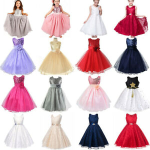 Girls Kids Sequin Bridesmaid Dress Wedding Gown Princess Dresses Birthday Party