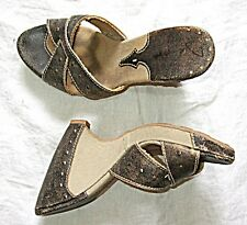 *HIGH BACKLESS MULE LEATHER CANVAS STUDS GREY BUFF STEAM PUNK GOTH SHOE WEDGE 6