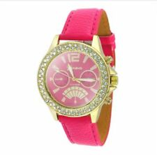 DOOKA  Geneva Numeral Faux Leather Quartz Crystal Stone Wrist Watch (Pink/Gold)