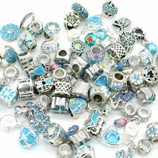 Blue European 10pcs mix Silver CZ Charm Beads Fit Necklace Bracelet Wholesale