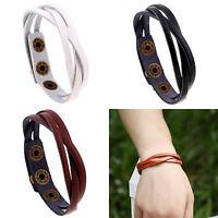 Fashion Men Women Genuine Leather Weaved Bangle Cuff Braided Bracelet Wristband