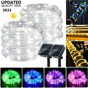 Solar Power LED Tube Rope Lights Outdoor String Fairy Lights Garden Waterproof