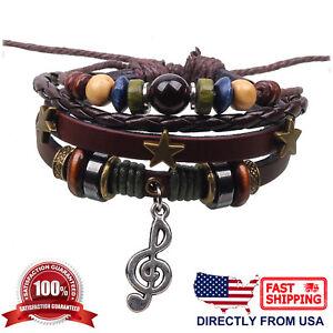 Music Treble G Clef and Beads Unisex Men Women Leather Wristband Bracelet