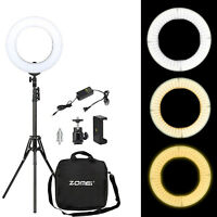 """14"""" Dimmable LED Ring Light Photography YouTube Live with Phone Clamp Ball Head"""