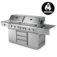 Euro-Grille 9 Burner BBQ Grill 100 Stainless Steel Kitchen Gas Outdoor Barbeque