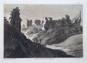 FINE ANTIQUE 1784 ENGRAVED PRINT - CASTLE ACRE CASTLE, KING'S LYNN, NORFOLK