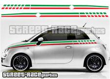Fiat 500 side racing stripes 005 Italian flag decals vinyl graphics stickers