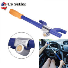 Stainless Steel Car Steering Wheel Lock Heavy Duty Extendable Dourable Hook Blue