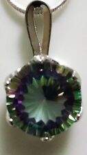 Sterling Silver basket style & Mystic Rainbow Topaz Pendant
