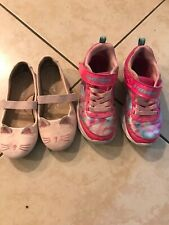 Girls Lot Of 2 Shoes Sketchers Light Up 11 1/2 Cat And Jack
