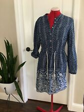 Anthropologie Meadow Rue Size 10 Blue Floral Print Alina Shirt Dress Popover